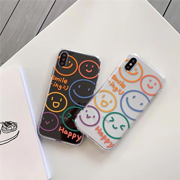 彩色線條簡約笑臉 適用 iPhone12Pro 11 Max Mini Xr X Xs 7 8 plus 蘋果手機殼 01