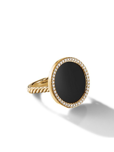 DY Elements® Ring In 18K Yellow Gold With Black Onyx & Pavé Diamonds