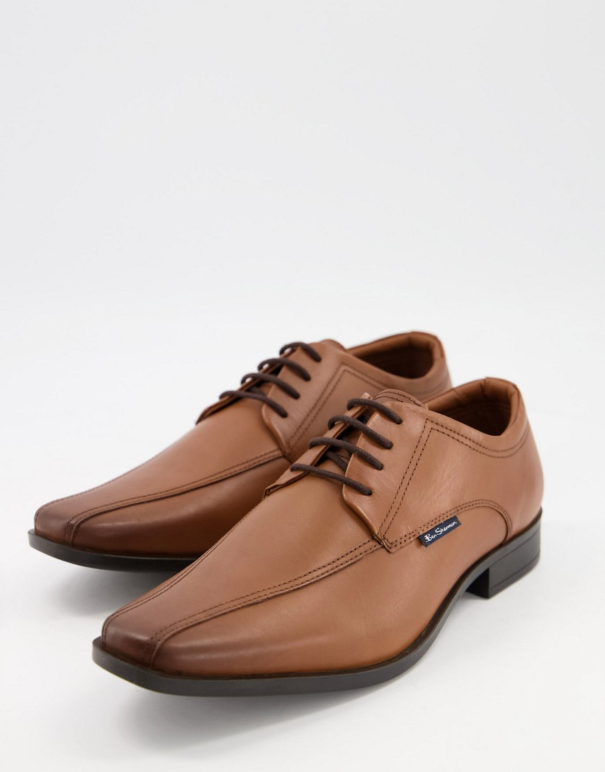 Ben Sherman smart derby leather lace up shoes in tan-Brown