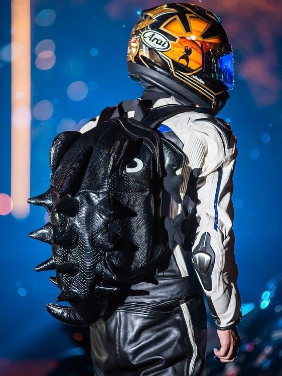 ins超火的頭盔雙肩包男學生機車書包潮牌個性搞怪獸創意籃球背包