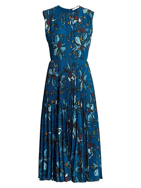 Bouquet Floral Crepe Pleated Day Dress