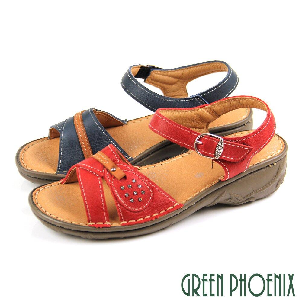 【GREEN PHOENIX】素色水鑽沾黏式全真皮小坡跟厚底涼鞋U60-25205