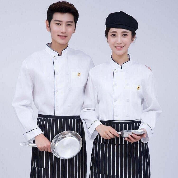 免運 廚師服長袖 白色制服 工作服紅邊藍邊 酒店工作服裝G2659