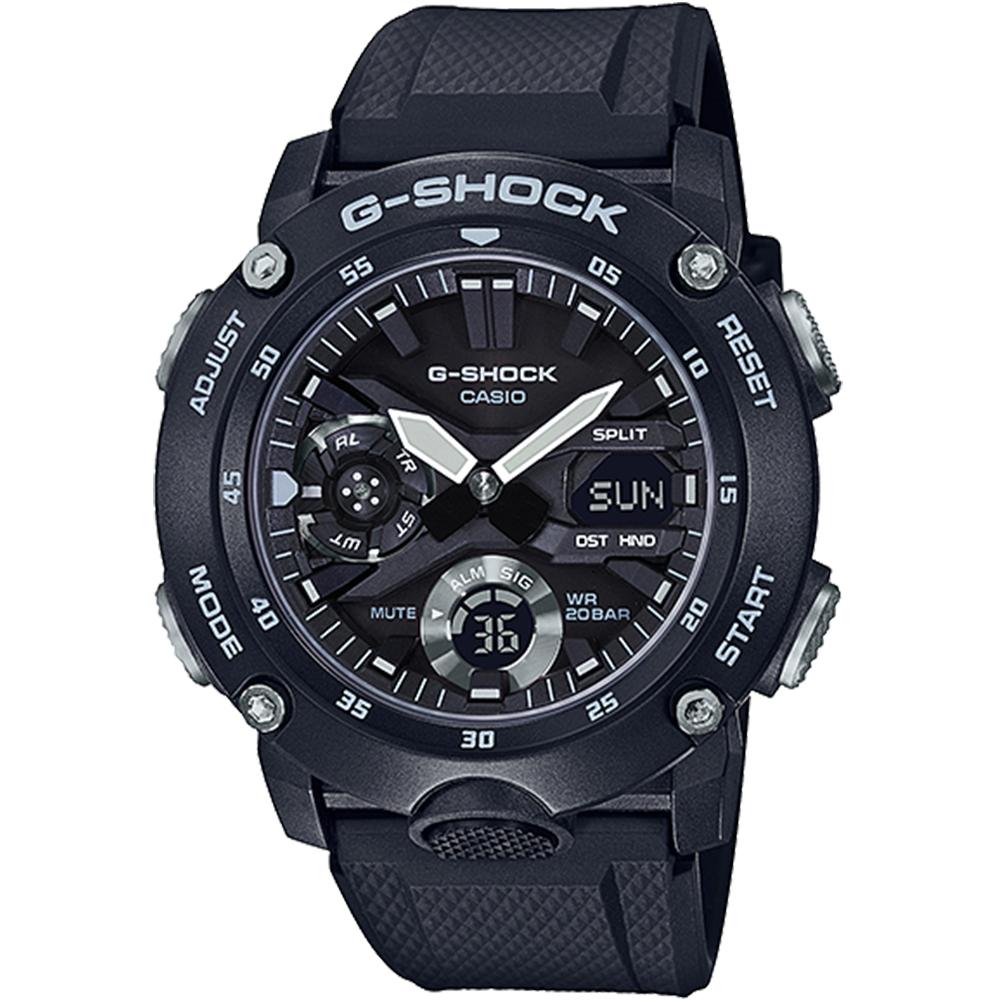 CASIO G-SHOCK 碳纖維防護三眼計時碼錶/GA-2000S-1A