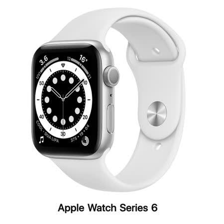 Apple Watch Series 6 44mm GPS版 銀色鋁錶殼配白色運動錶帶M00D3TA/A