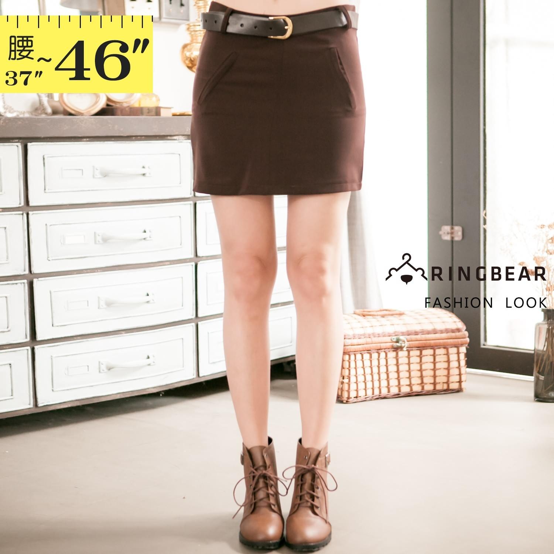 短裙--優雅修身氣質包臀顯瘦素面隱形拉鍊西裝窄裙(咖3L-7L)-Q59眼圈熊中大尺碼