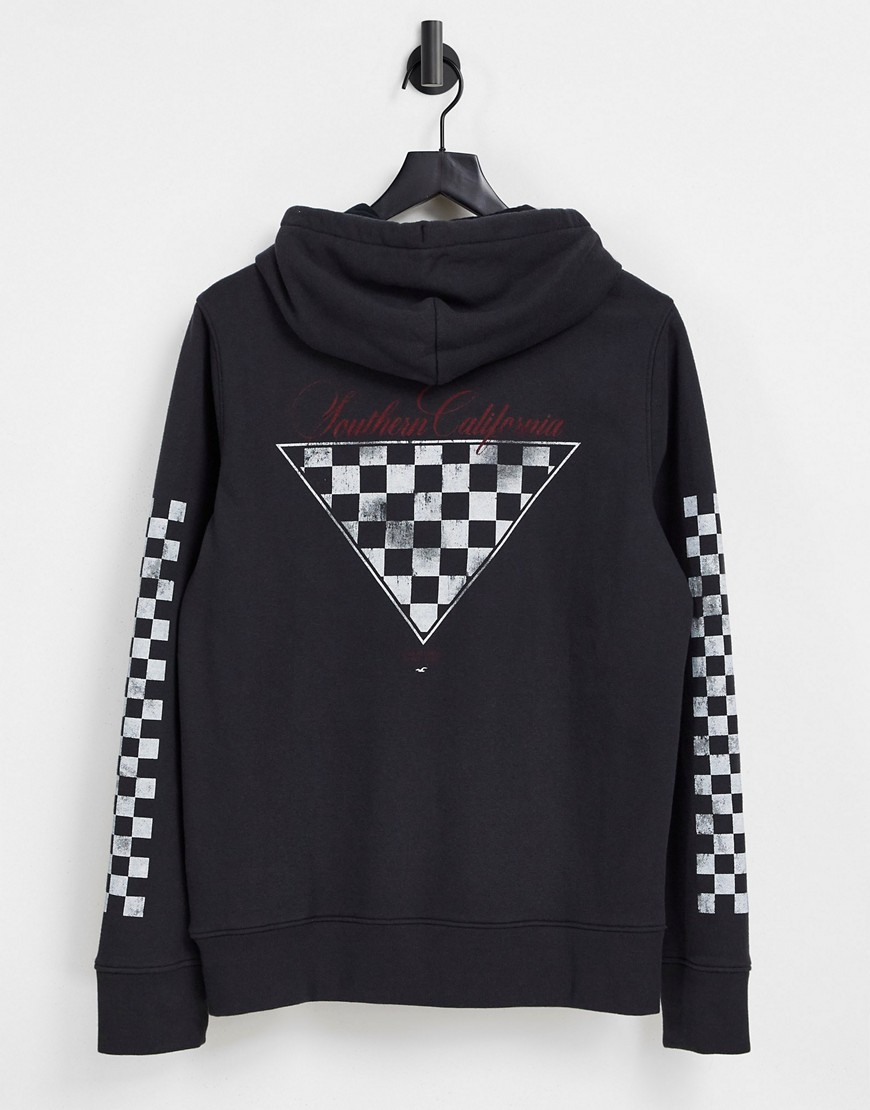 Hollister checkerboard sleeve and central logo hoodie in black