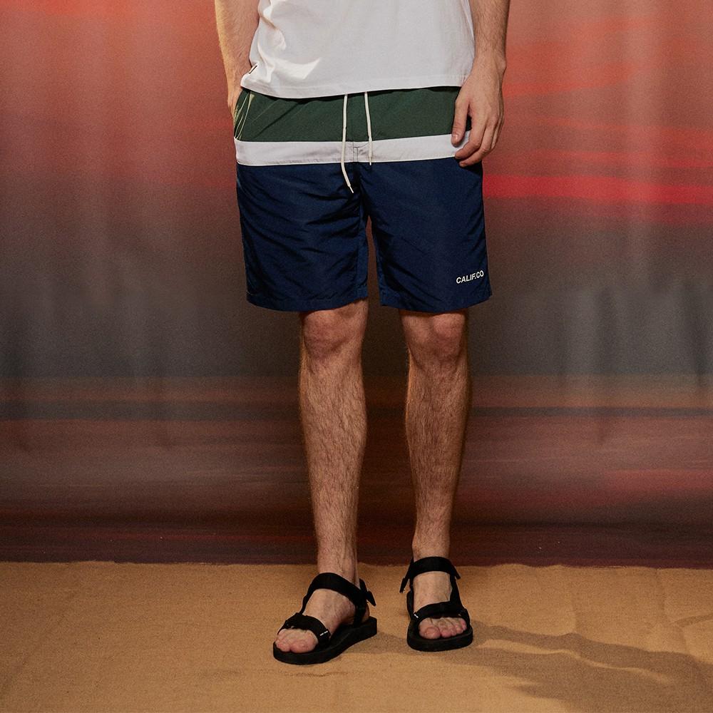 CACO-剪接拼色條海灘褲(二色)-男【B1AR061】