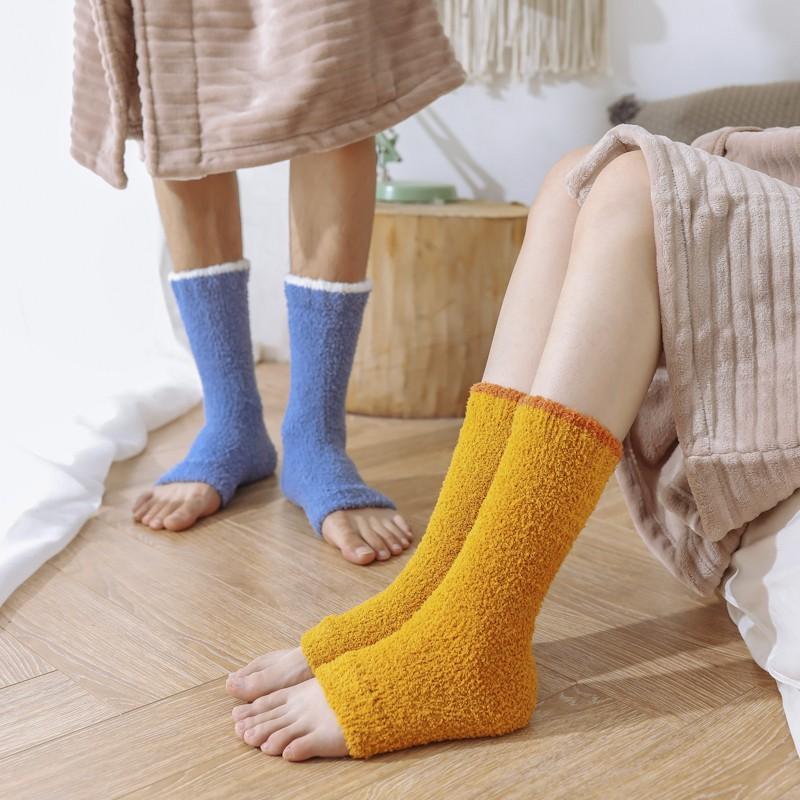 護腿襪套女珊瑚絨抗寒瑜伽冬季加絨加厚保暖睡覺睡眠男士膝蓋長襪