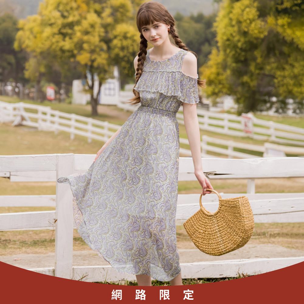 niceioi浪漫民族風印花露肩雪紡洋裝