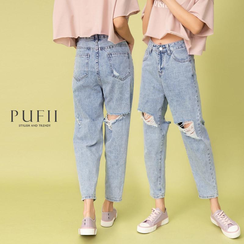 ◆PUFII-牛仔褲 膝割破率性男友褲牛仔褲- 0415 現+預 春【CP20103】
