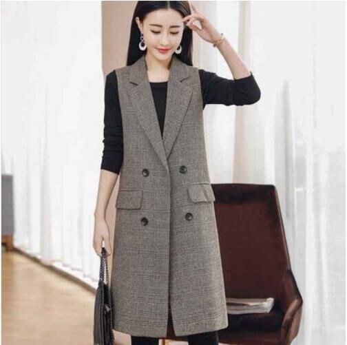 上衣外套背心百搭中大尺碼M-3XL韓版顯瘦坎肩馬夾外套 格子西裝 中長款2F054E-2151.