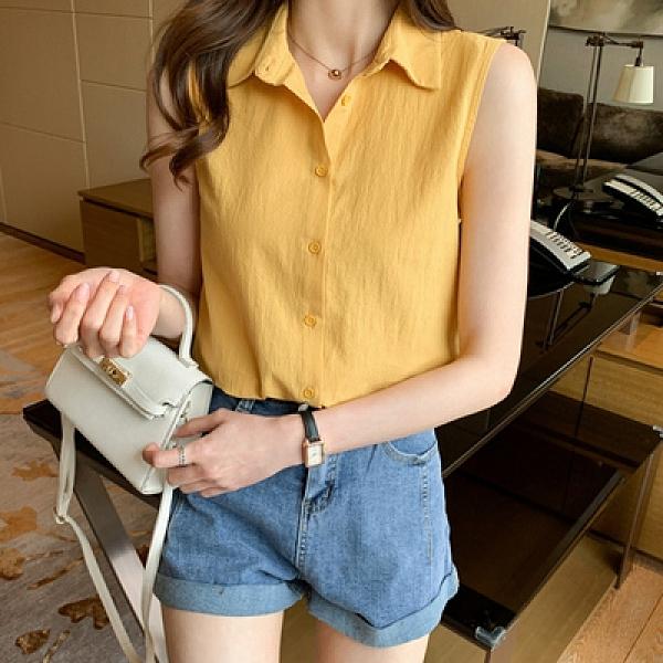 洋氣夏季黃色基礎款坎肩背心女外穿襯衫無袖雪紡打底內搭上衣GD747-A胖妹大碼女裝