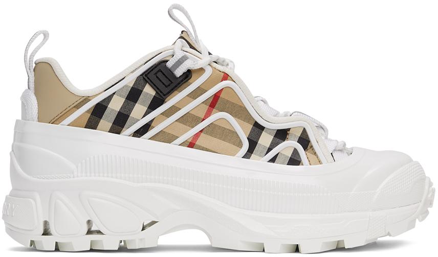 Burberry 驼色 & 白色 Arthur 格纹运动鞋