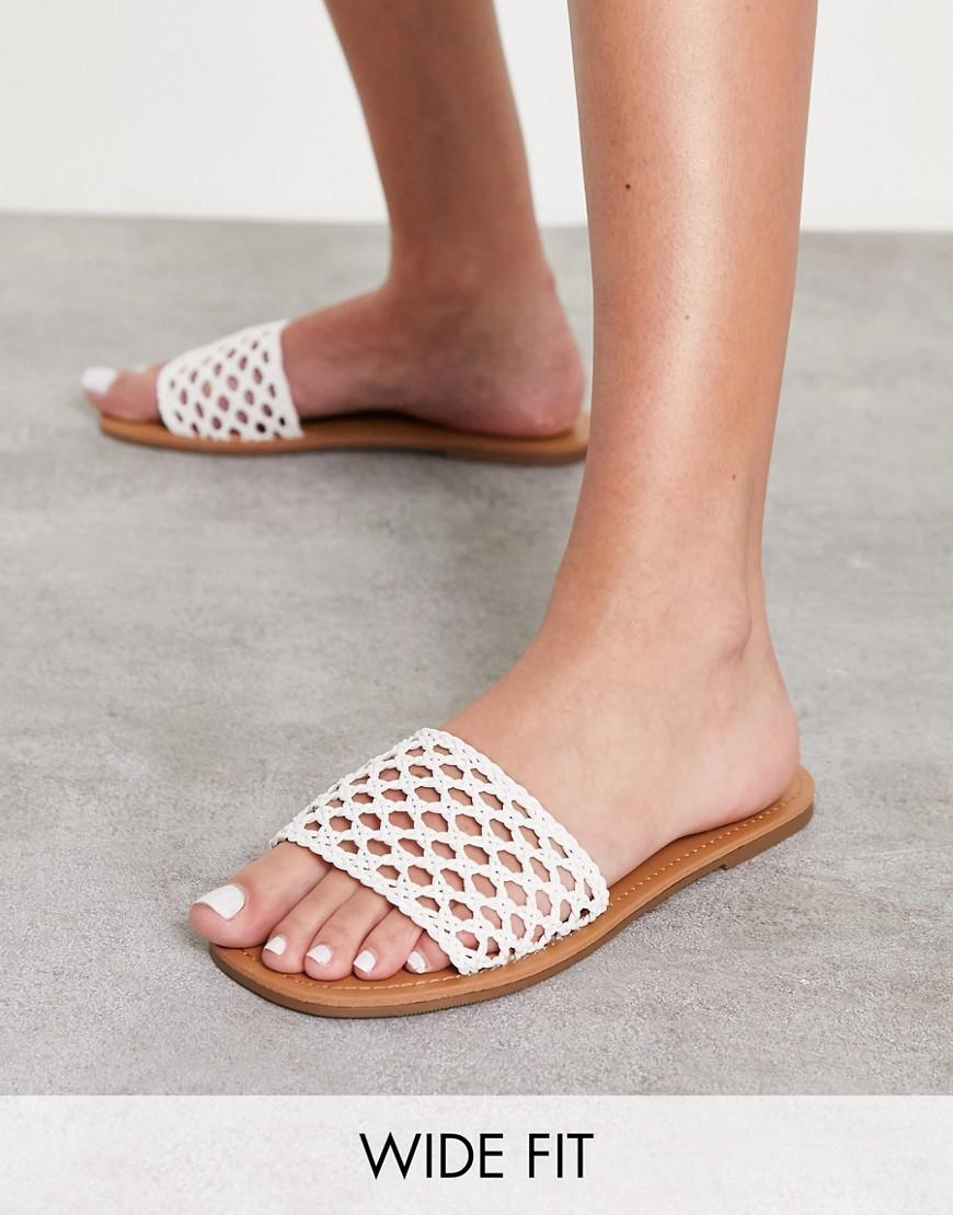 Miss Selfridge wide fit ellie sandal in white