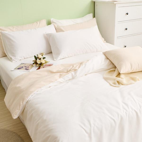 床包枕套組-單人 / 舒柔棉二件式 / 優雅白床包+奶白被套 台灣製