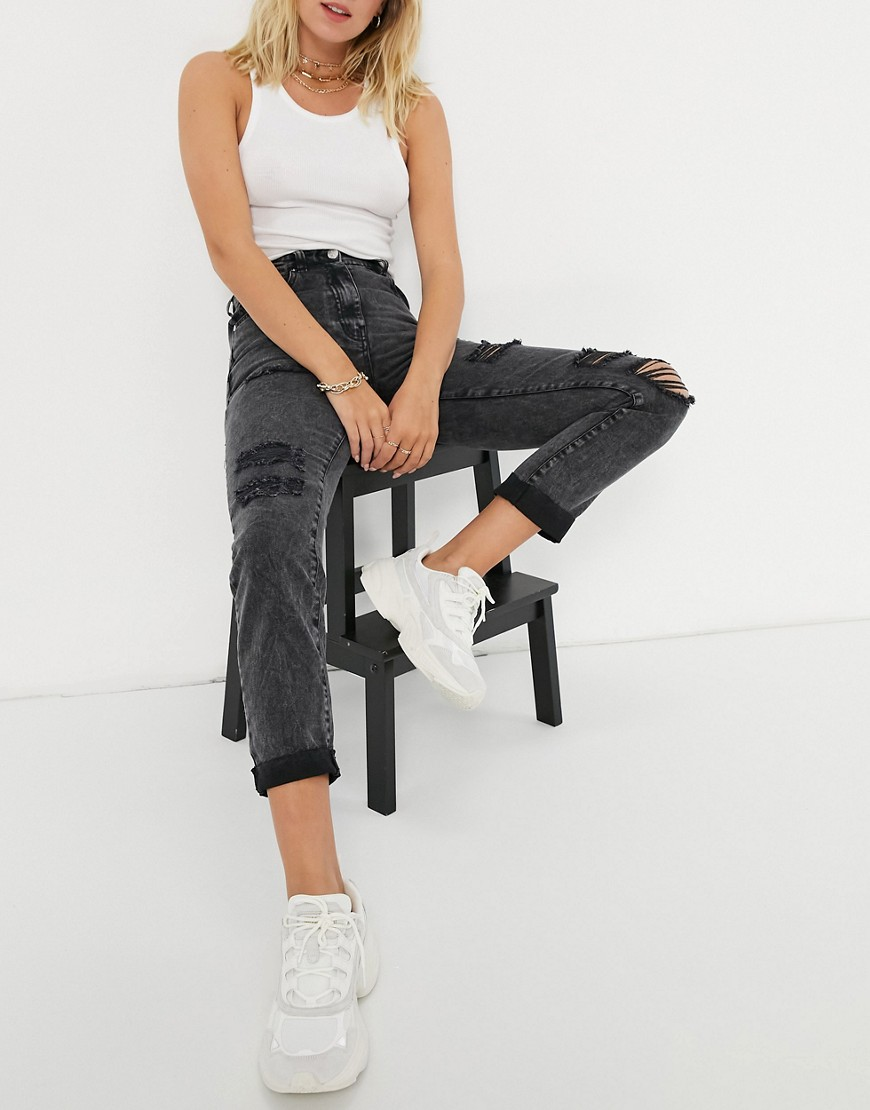 Parisian distressed mom jeans in washed black