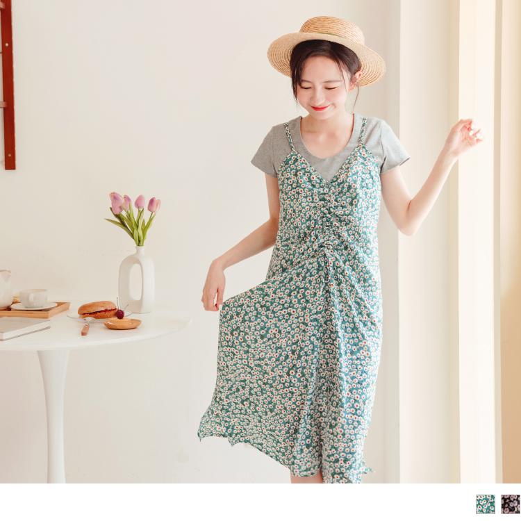 滿版印花前襟綁帶抽皺吊帶洋裝