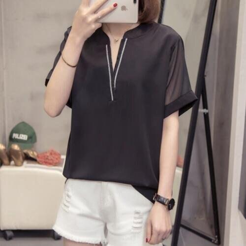 襯衣上衣寬鬆短袖簡約中大尺碼XL-4XL大碼雪紡衫V領短袖襯衫5F026-2262.