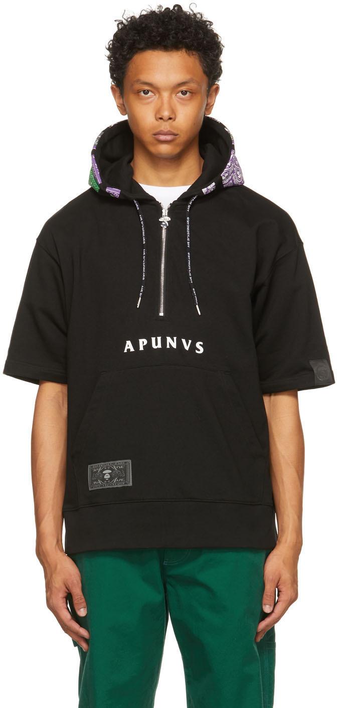 AAPE by A Bathing Ape 黑色徽标短袖连帽衫