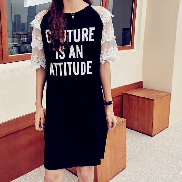 洋裝休閒裙中大尺碼M-4XL新款短袖紗網拼接字母中長款t卹裙連身裙4F051-990.