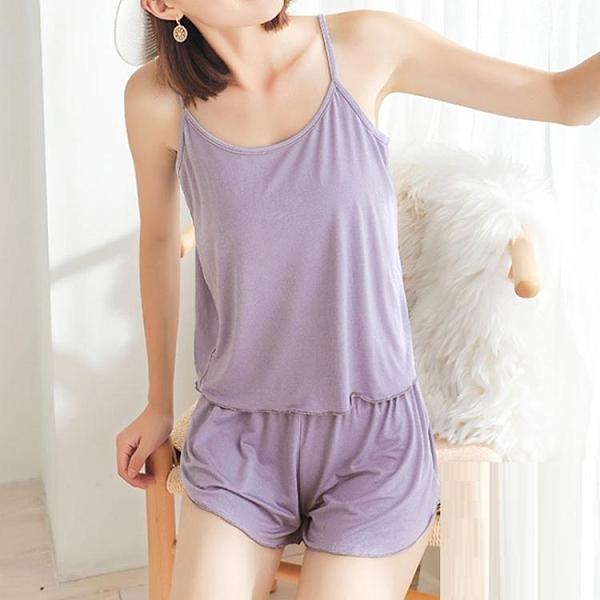 莫代爾套裝 莫代爾韓版夏季性感吊帶短褲女薄款睡衣兩件套大碼春秋家居服套裝 小天使