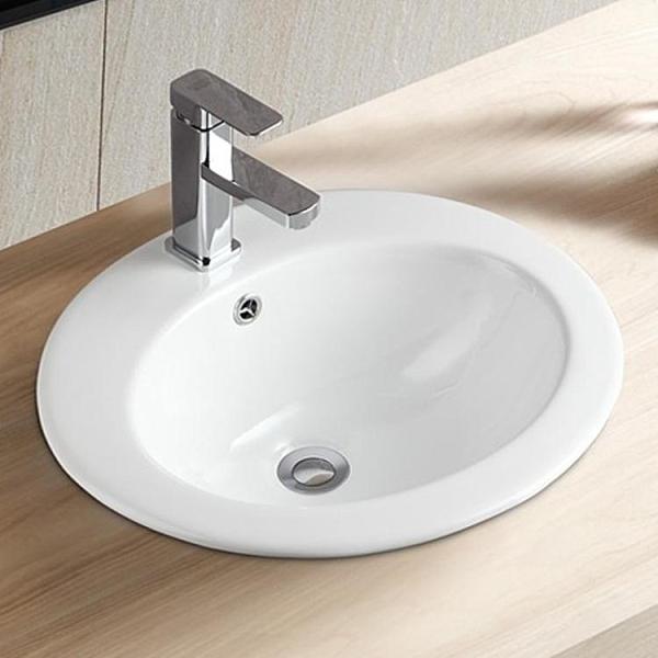 家用酒店超市衛生間陶瓷白色圓形嵌入式臺上盆洗手盆藝術洗臉盆【頁面價格是訂金價格】