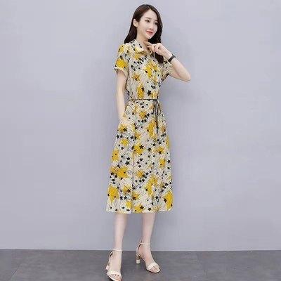 碎花洋裝歐洲站夏裝年新款歐版時尚單排扣碎花系帶長裙女人味連身裙夏TBF-28A.