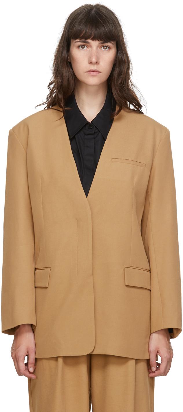 Esse Studios SSENSE 独家发售黄褐色 Collarless 西装外套