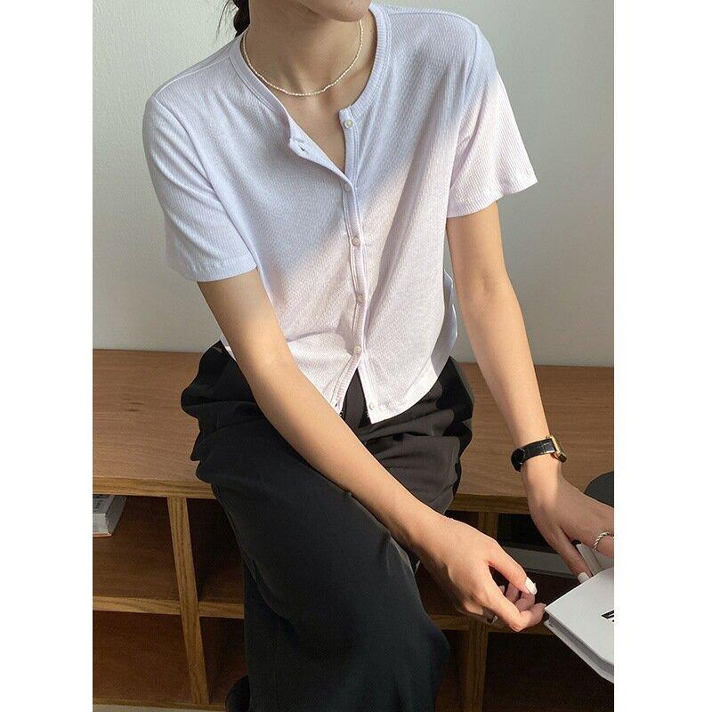 夏季新款t恤女圓領優雅純色短袖開衫休閒短款多色上衣