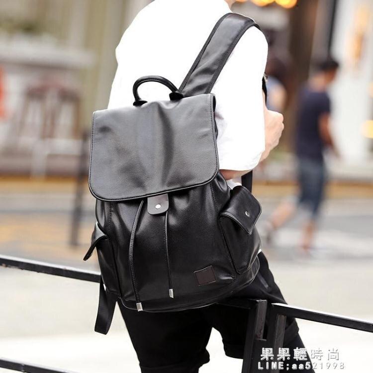 後背包 新款街頭背包後背包韓版皮質 商務潮流抽帶時尚背包書包旅行包潮