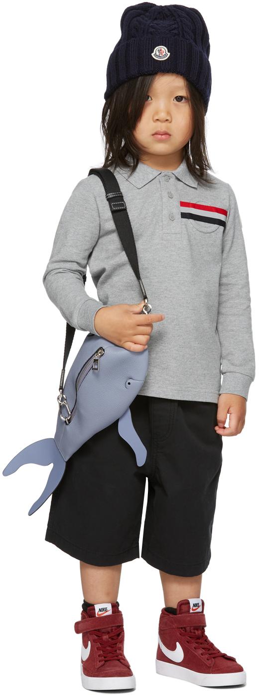Moncler Enfant 灰色 Side Vents 儿童长袖 Polo 衫