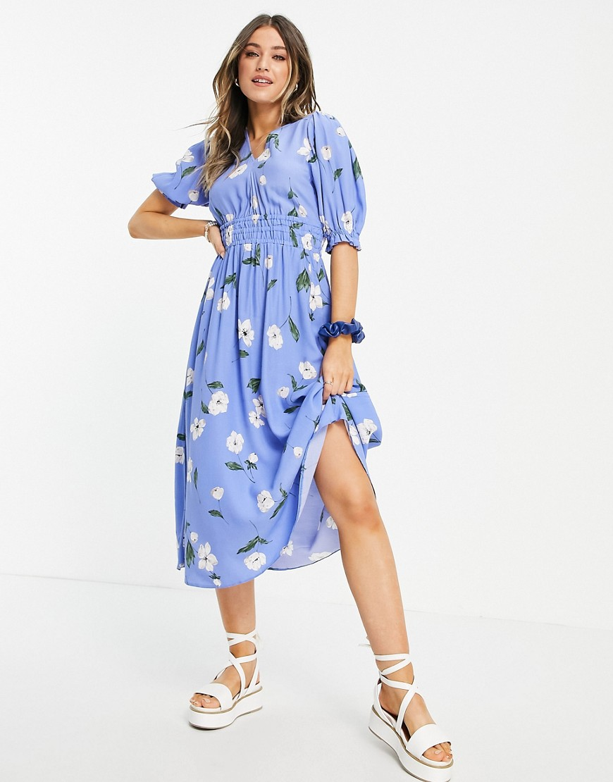 Nobody's Child v neck midi tea dress in blue floral