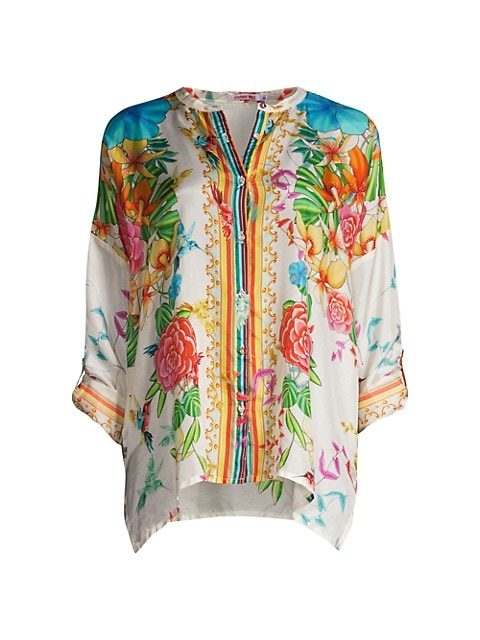 Sabrina Floral Silk Tunic Blouse