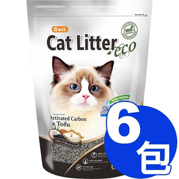 【寵物王國】【免運費】CARL卡爾-環保豆腐貓砂(椰殼活性碳)6L x6包超值組