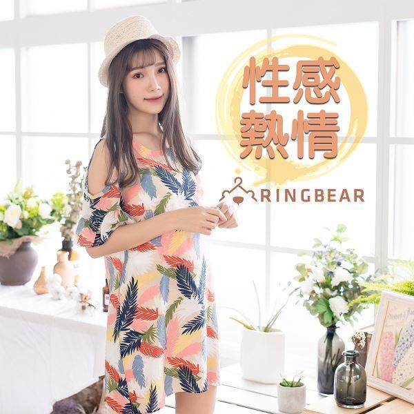 性感洋裝--森林系挖肩性感荷葉袖葉子印花涼感氣質短袖連衣裙(L-3L)-D486眼圈熊中大尺碼