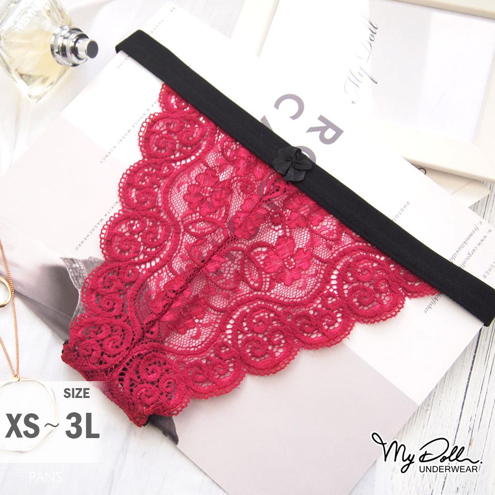 內褲【買2送1 / 贈品隨機】MyDoll 豔情禮物x歐系性感蕾絲中低腰三角褲(紅色/XS到3L適穿)