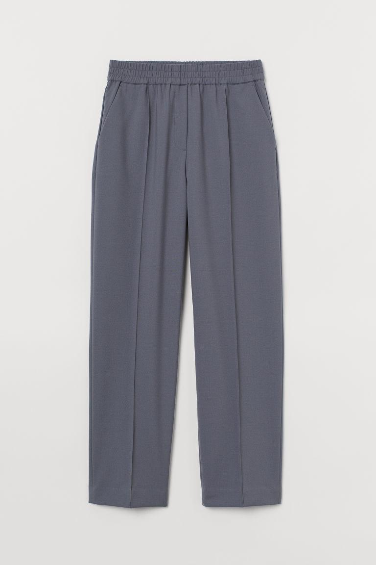 H & M - 修身羊毛混紡長褲 - 藍色