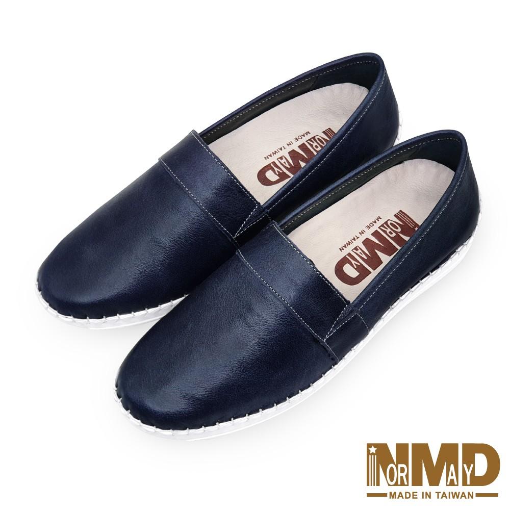 諾曼地Normady 女鞋 休閒鞋 懶人鞋 MIT台灣製 真皮鞋 厚底鞋 增高鞋 氣墊鞋 純色素面磁力球囊鞋(午夜藍)