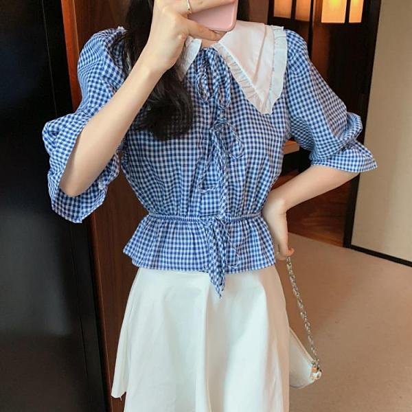 短袖襯衫 雪紡上衣法式復古娃娃領襯衫女設計感泡泡袖上衣潮T639紅粉佳人