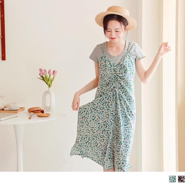 《DA8654-》滿版印花前襟綁帶抽皺吊帶洋裝 OB嚴選