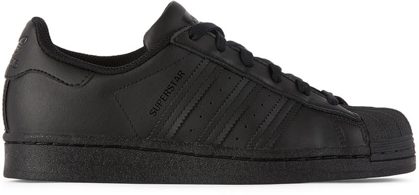 adidas Kids 黑色 Superstar 儿童运动鞋