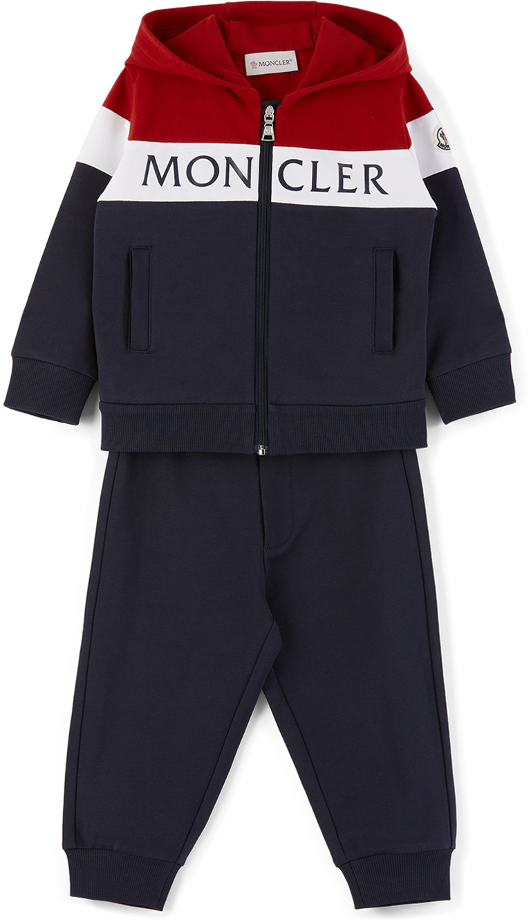 Moncler Enfant 海军蓝徽标婴儿运动套装