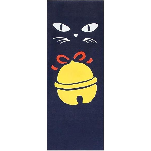 【日本製】【和布華】 日本製 注染拭手巾 黑貓與鈴鐺圖案(一組:3個) SD-5011-3 - 和布華 日本製