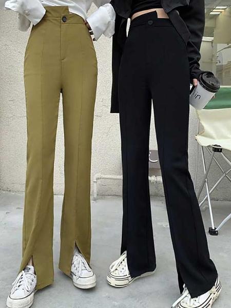 喇叭褲 新款喇叭褲女春夏季高腰顯瘦開叉垂感休閒寬鬆拖地直筒闊腿長褲子 晶彩