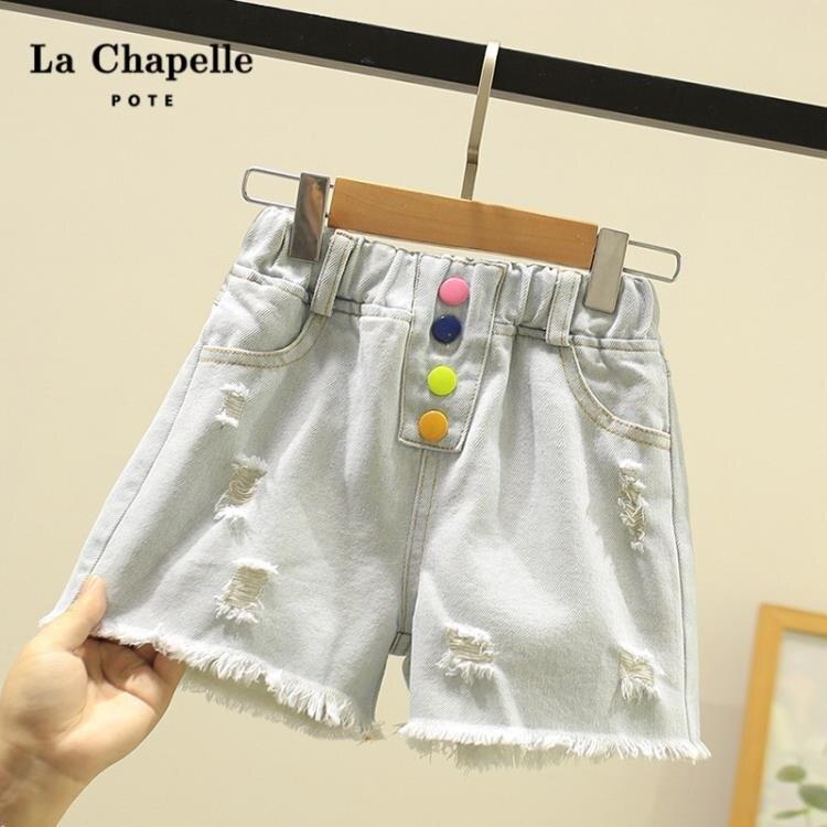 女童牛仔短褲 童裝夏季新款女童破洞牛仔褲子兒童夏裝洋氣女孩外穿短褲-