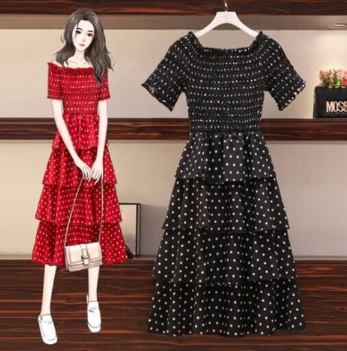洋裝雪紡裙中大尺碼XL-5XL新款大碼網紅波點蛋糕裙一字肩圓領兩穿雪紡連身裙2F070-8150.