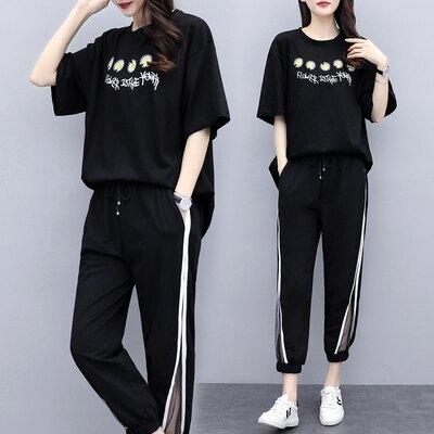 九分褲套裝兩件式中大尺碼L-5XL胖mm短袖刺繡爆款9分褲套裝4F088.