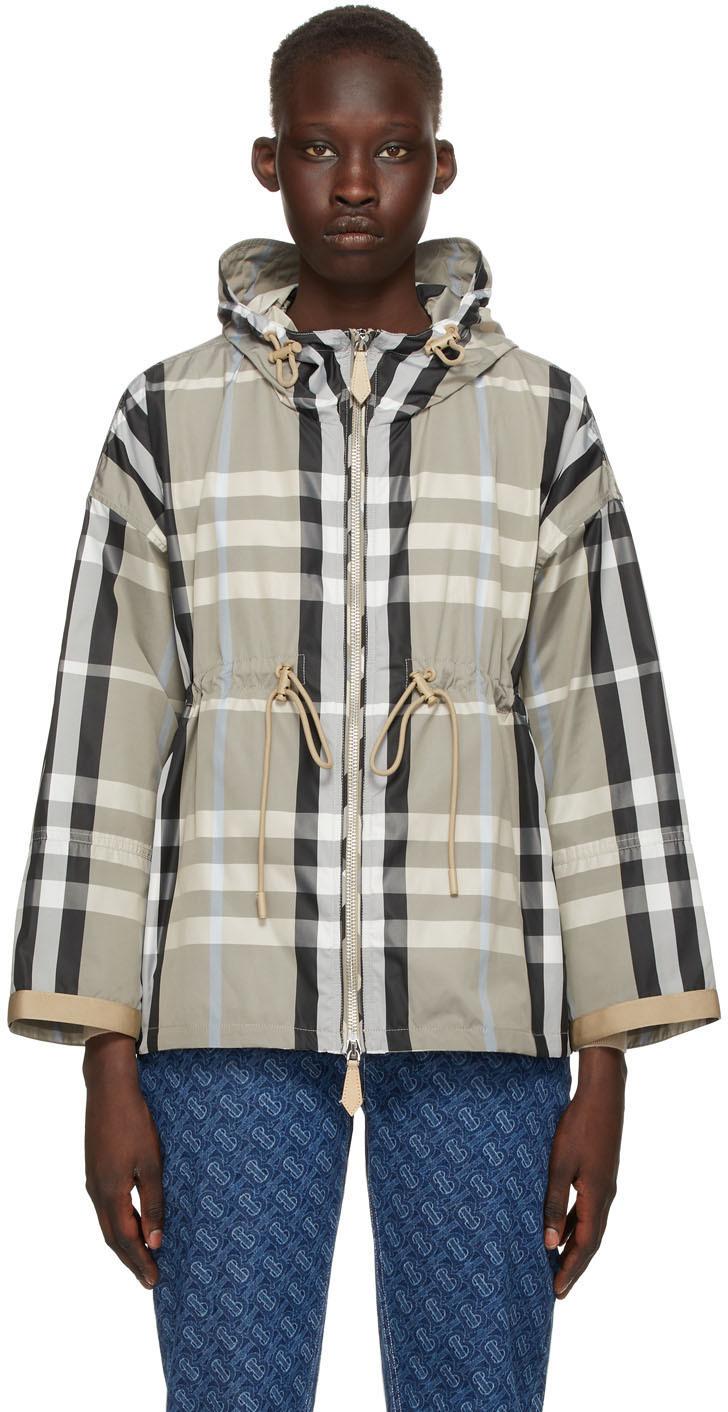 Burberry 灰色格纹轻量连帽夹克