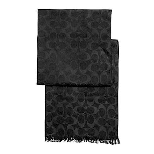 COACH C LOGO羊毛圍巾/披肩-黑